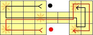 Траектория фишек на игровой доске