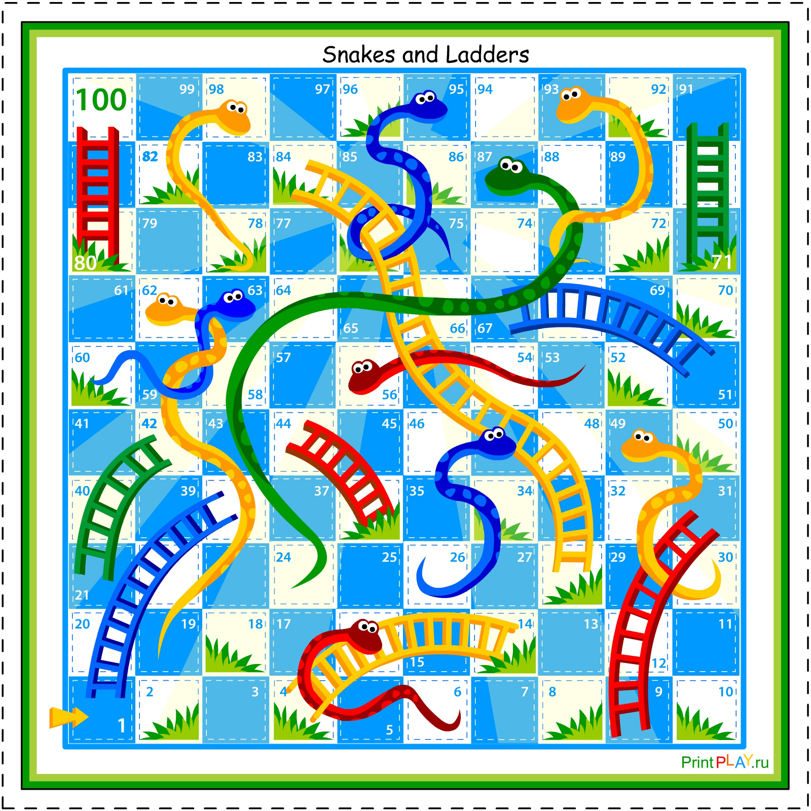 for Printable snakes and ladders template
